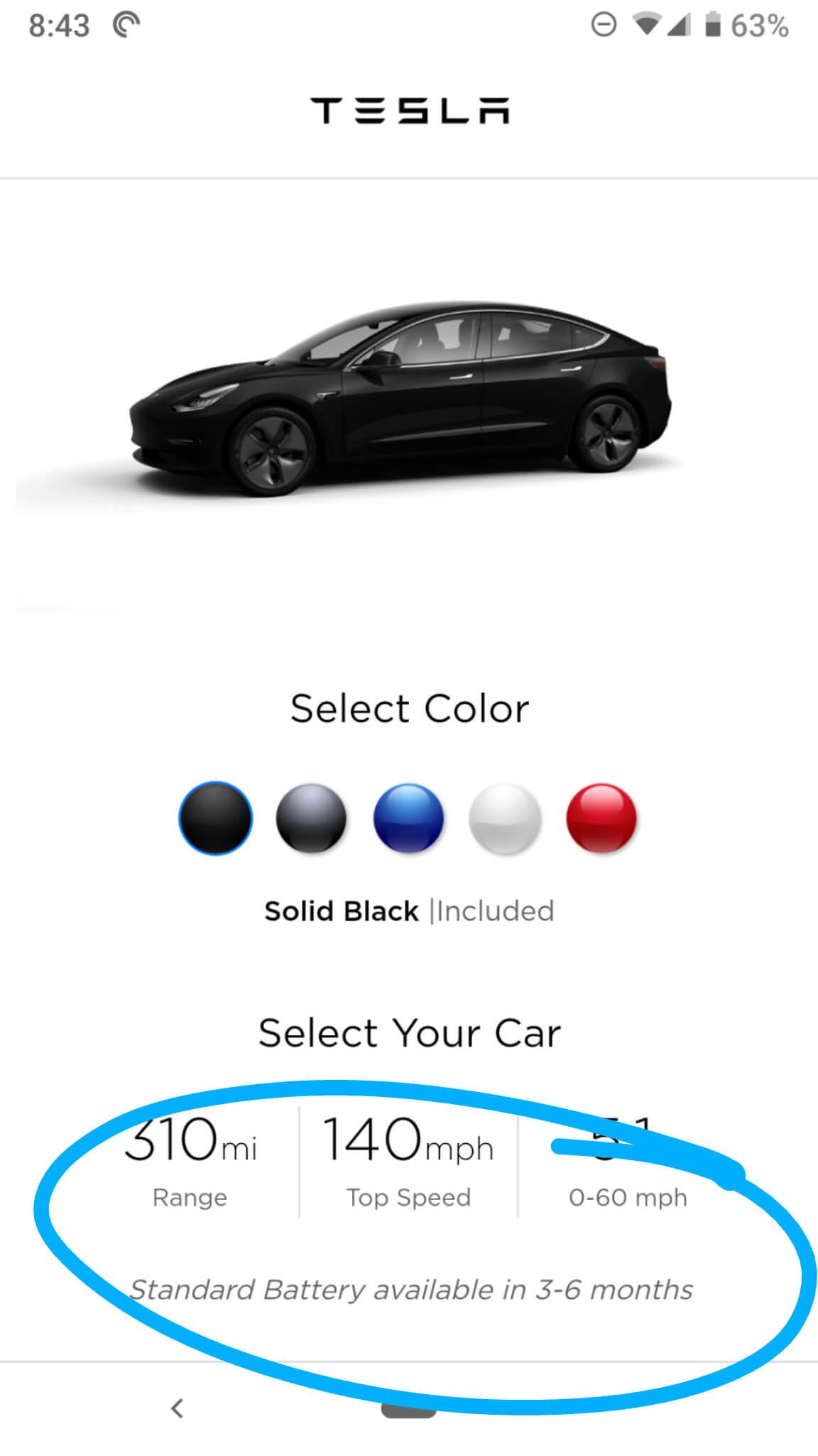 Сроки поставки базовой версии электромобиля Tesla на 1 октября 2018