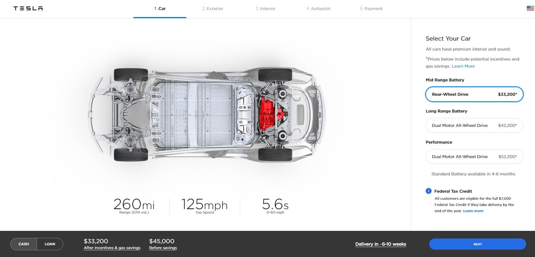 Конфигуратор «средней» комплектации Tesla Model 3