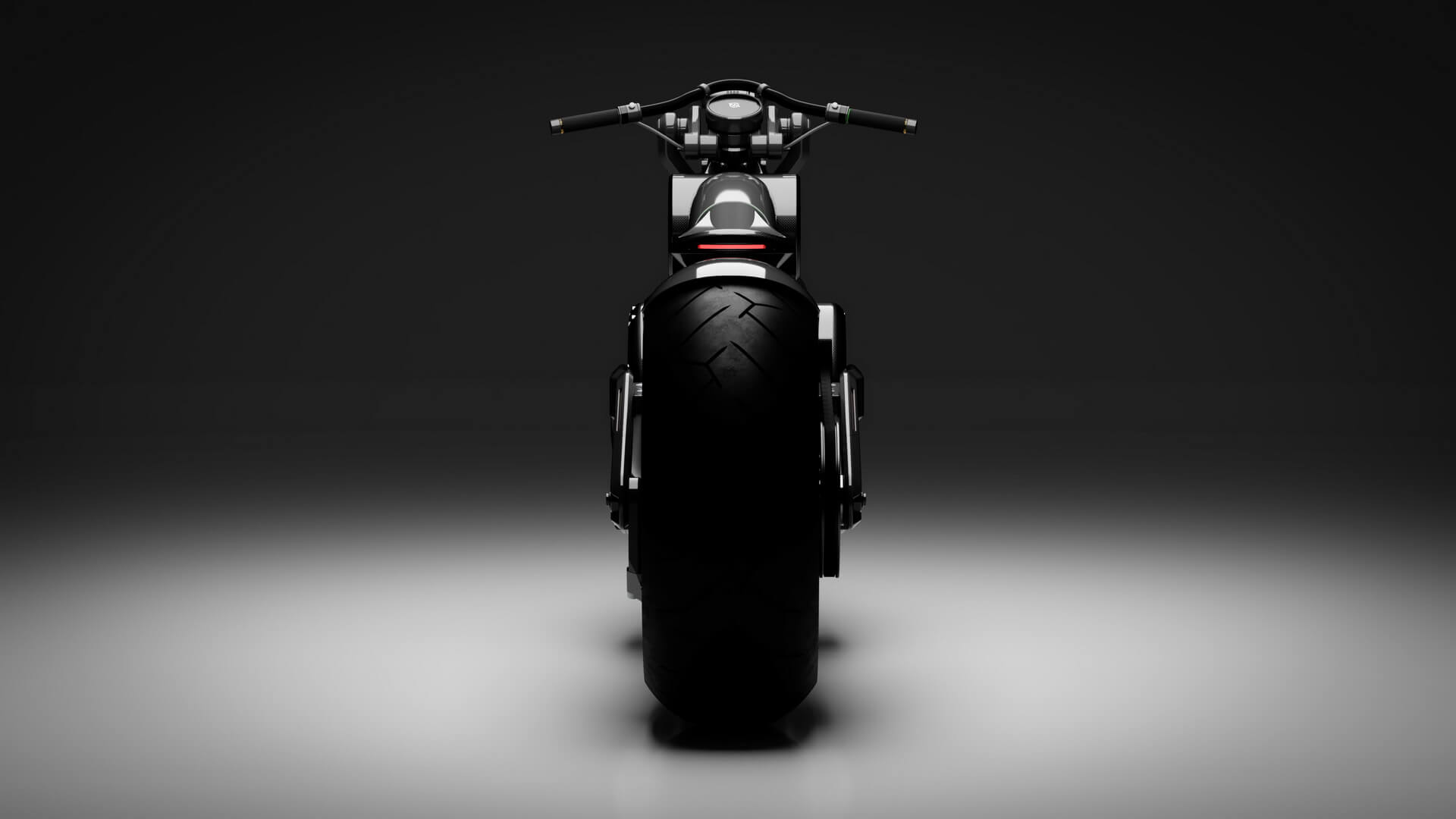 Электрический мотоцикл Zeus Bobber - вид сзади