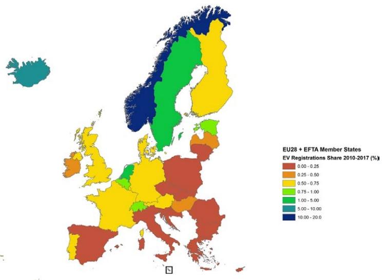 Карта стран Европы с наибольшим количеством зарегистрированных электромобилей в процентном соотношении