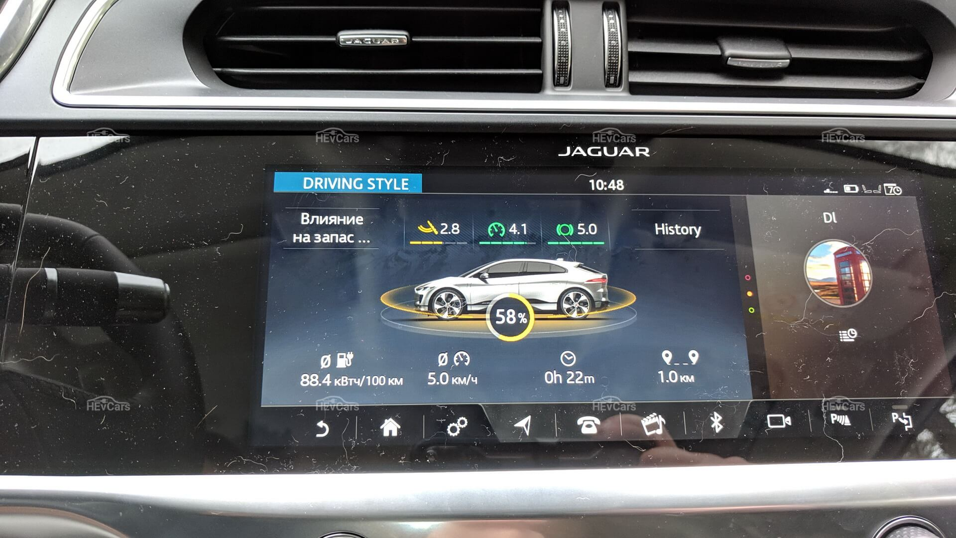 Данные о влиянии на запас хода Jaguar I-Pace
