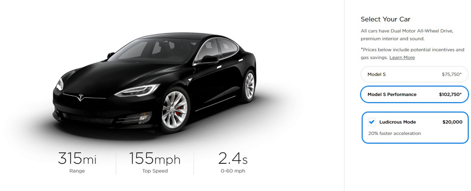 Tesla Model SPerformance + «Ludicrous Mode»