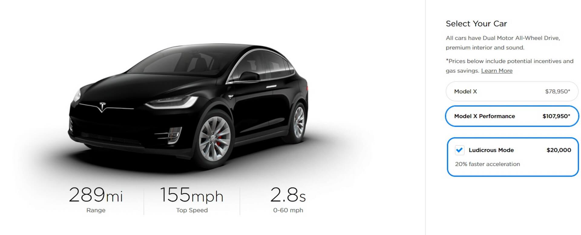 Tesla Model XPerformance + «Ludicrous Mode»