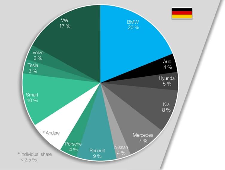 Доля продаж электрифицированных автомобилей разных компаний в Германии в 2018 году