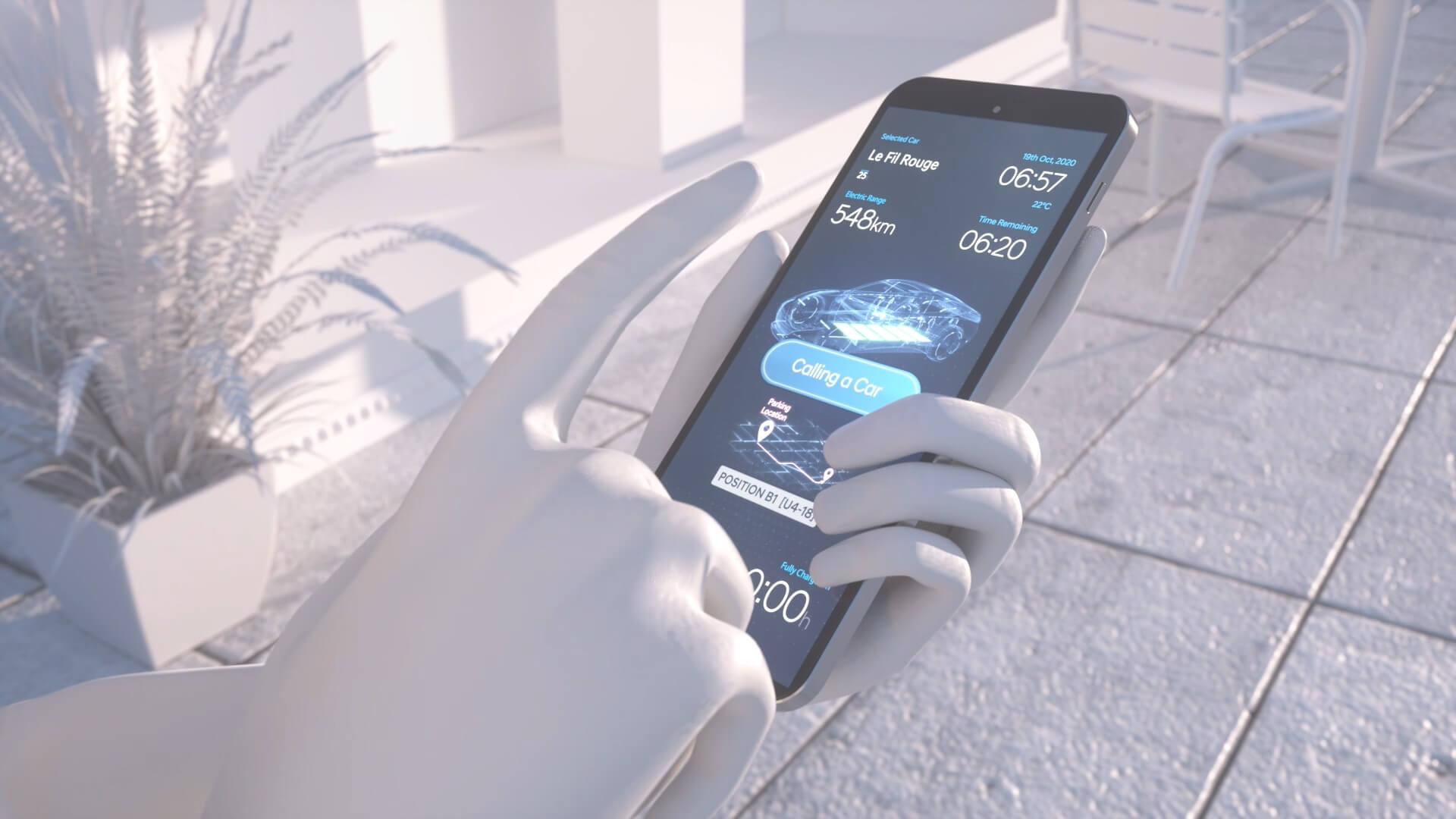 Приложение насмартфоне для активации системы автоматической парковки с беспроводной зарядкой