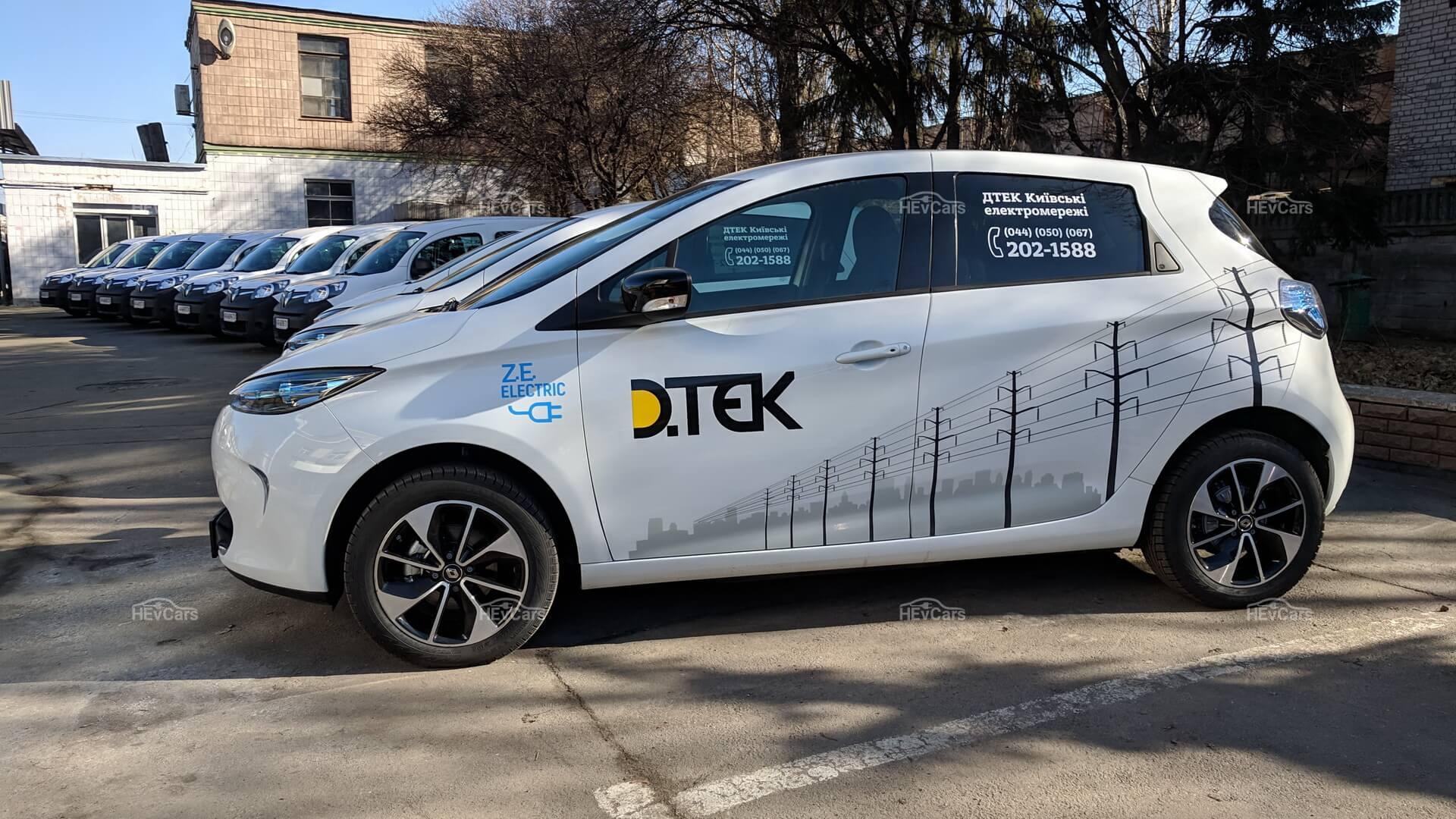11электромобилей Renault ZOE иRenault Kangoo Z.E. компании «ДТЭК Киевские электросети»