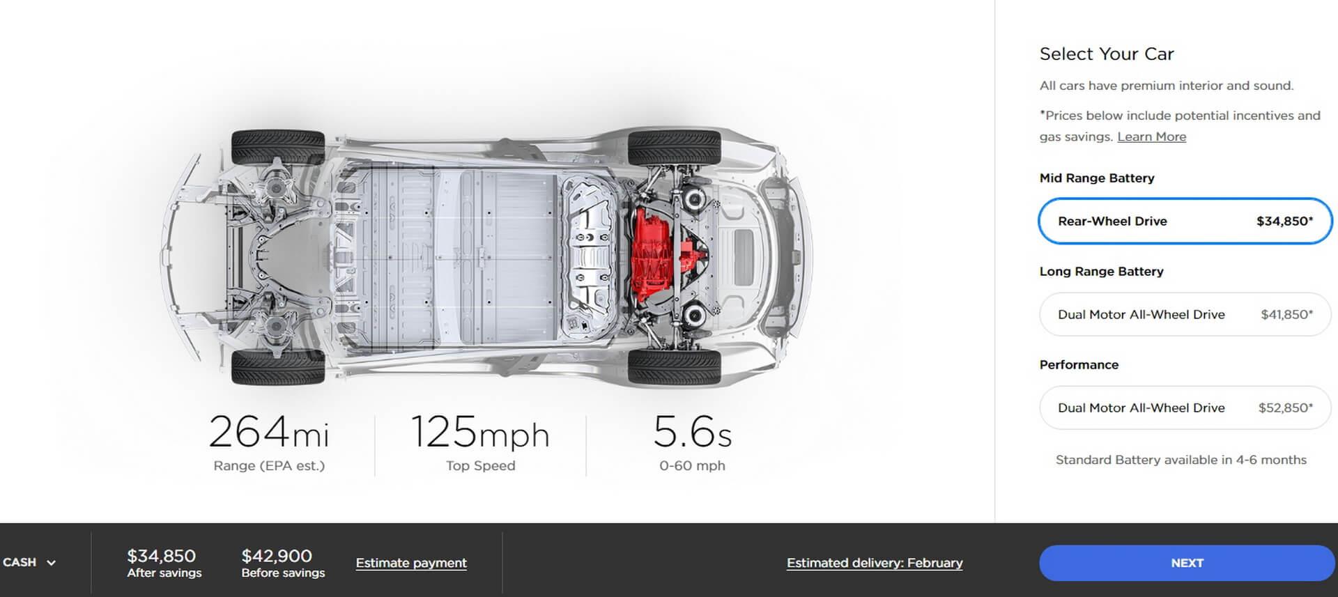 Tesla Model 3 Mid Range: $42 900