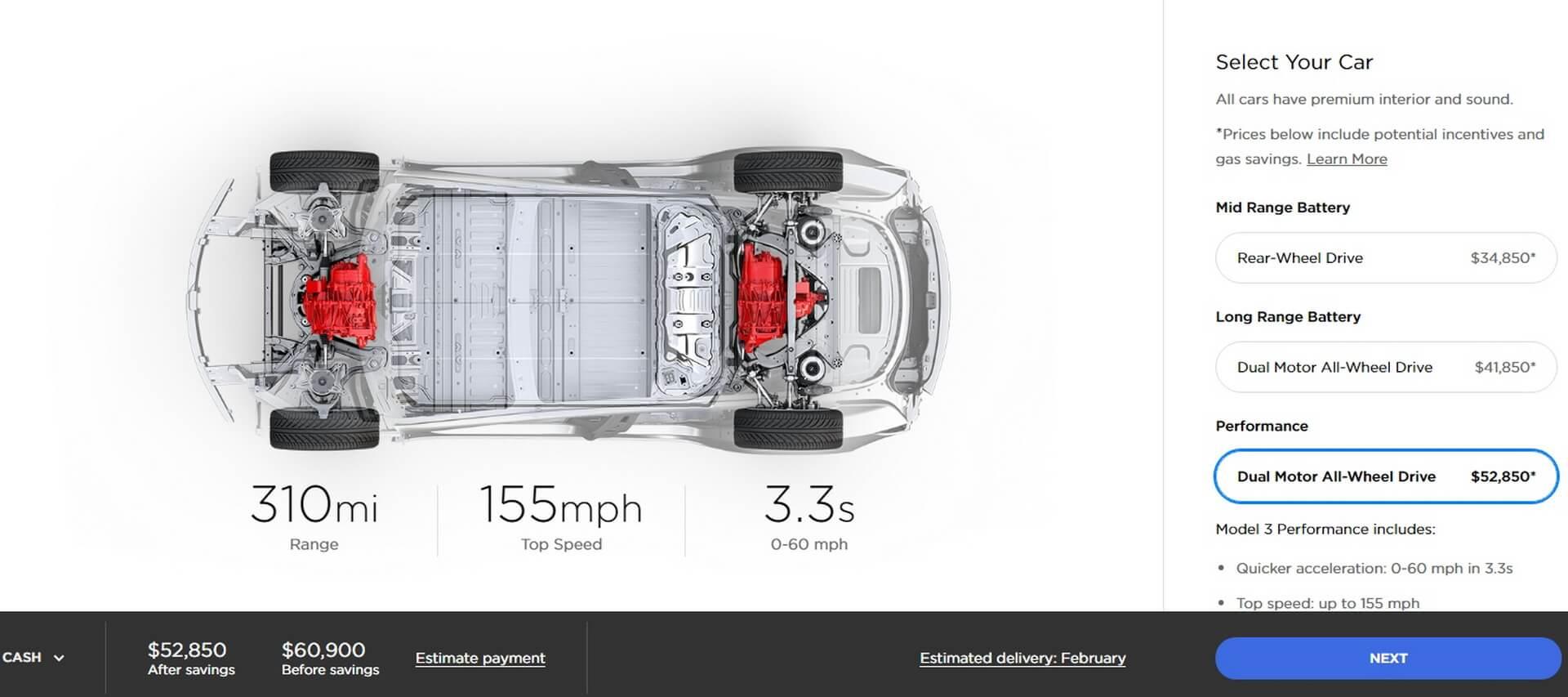 Model 3 Long Range Dual Motor Performance: $60 900