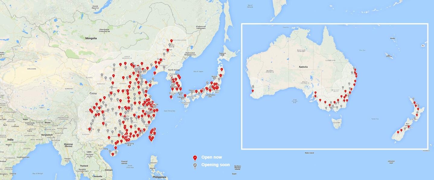 Tesla Supercharger в Азии