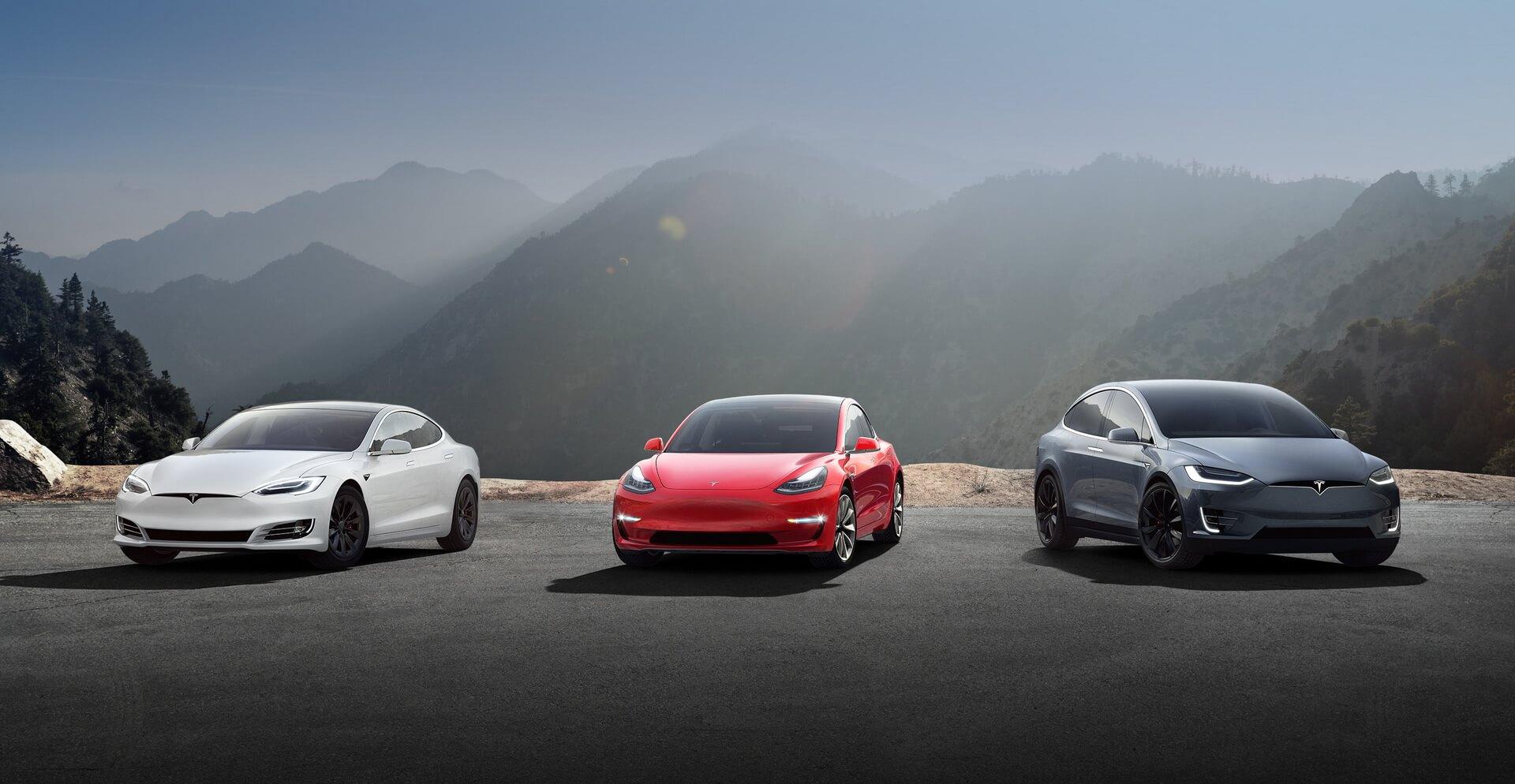 Серийно выпускаемые электромобили Tesla: Model S, Model 3, Model X
