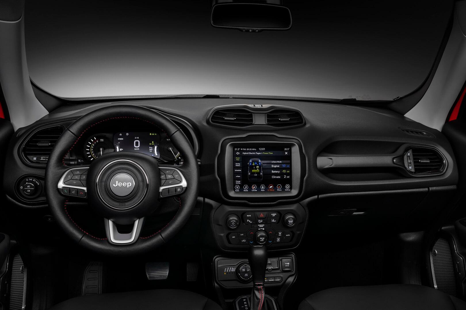 Интерьер плагин-гибрида Jeep Renegade