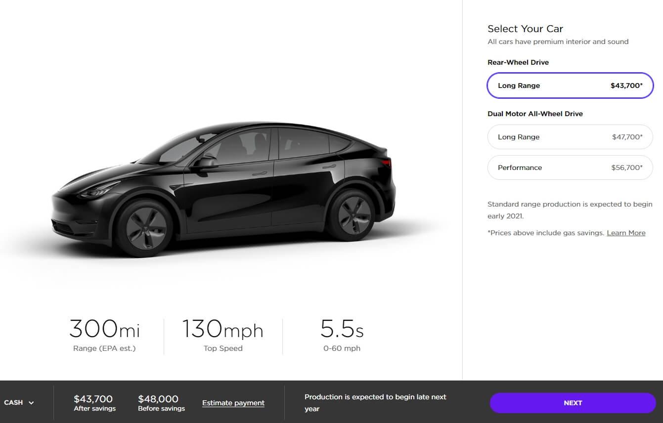 Стоимость Tesla ModelY на сегодняшний день