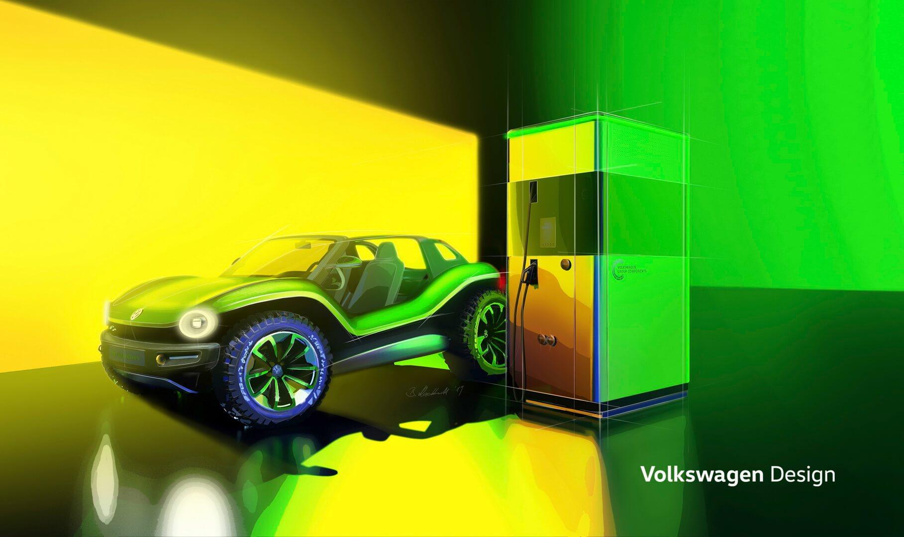 Volkswagen представил мобильную станцию быстрой зарядки электромобилей в Женеве