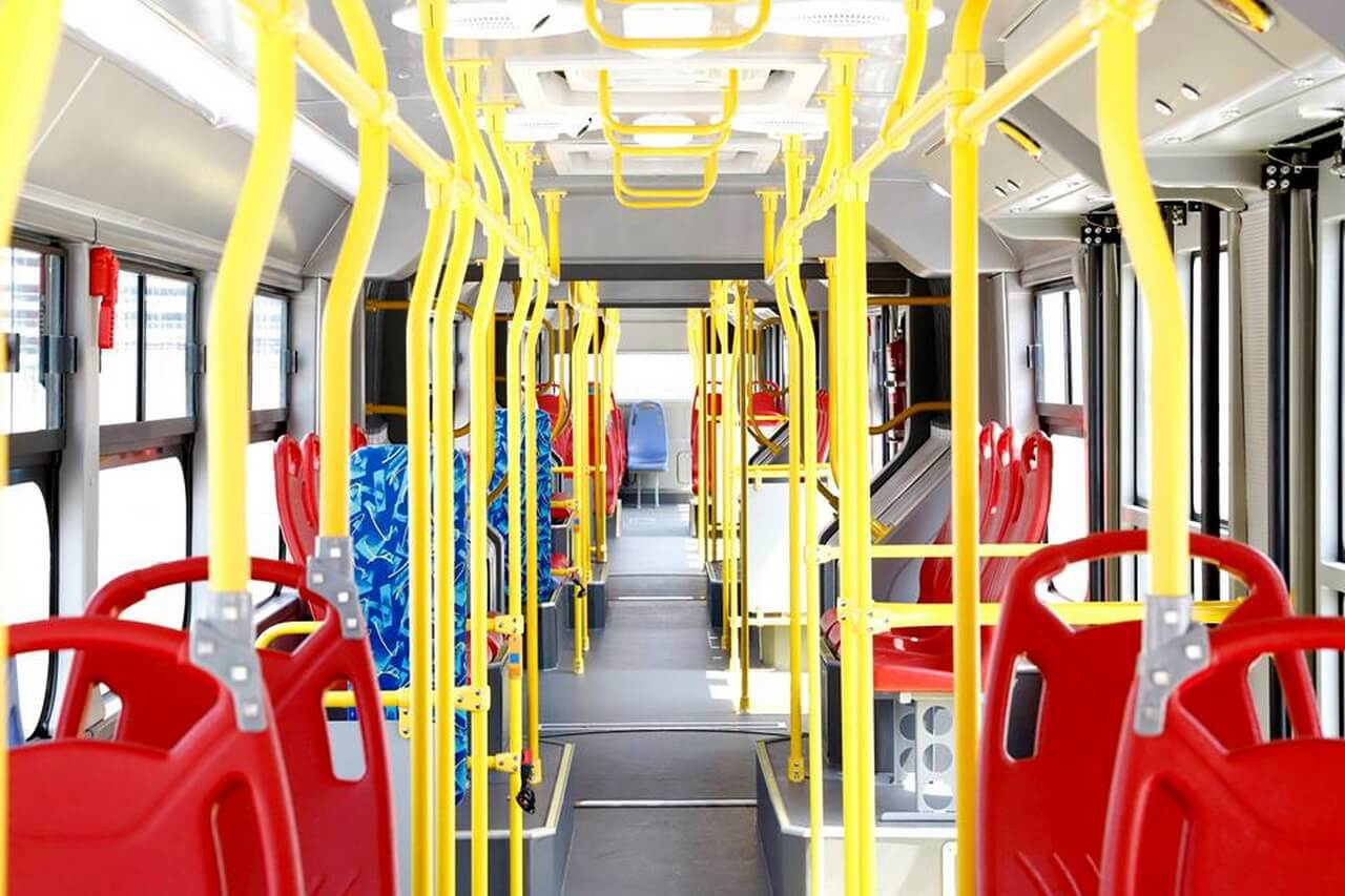 Салон электрического автобуса BYD K12A