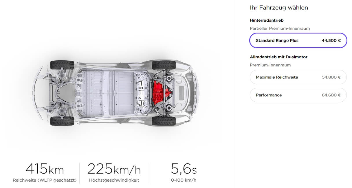 Конфигуратор Tesla Model 3 «Standard Range Plus» для Германии