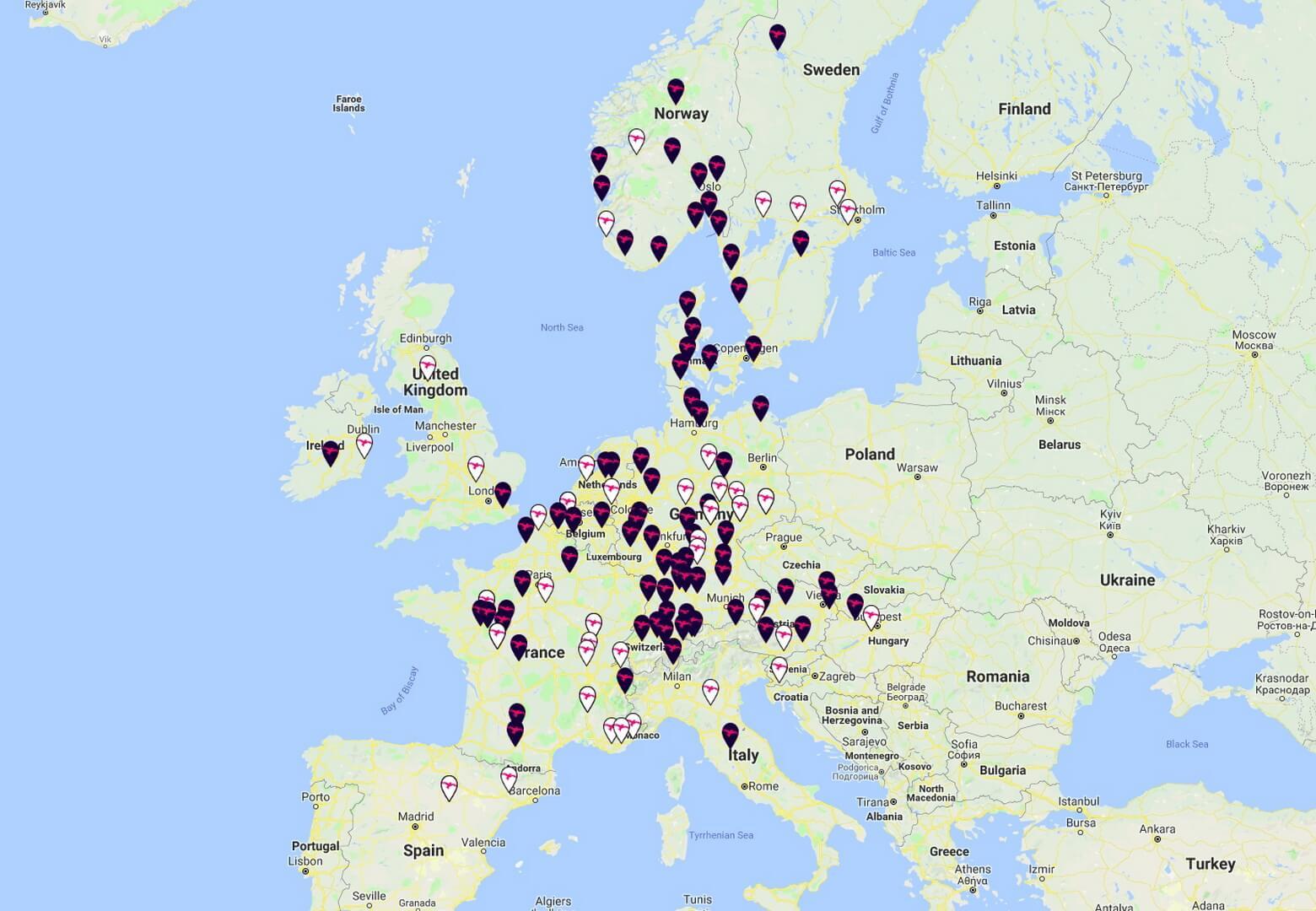 Сеть сверхбыстрых зарядных станций Ionity в Европе на данный момент