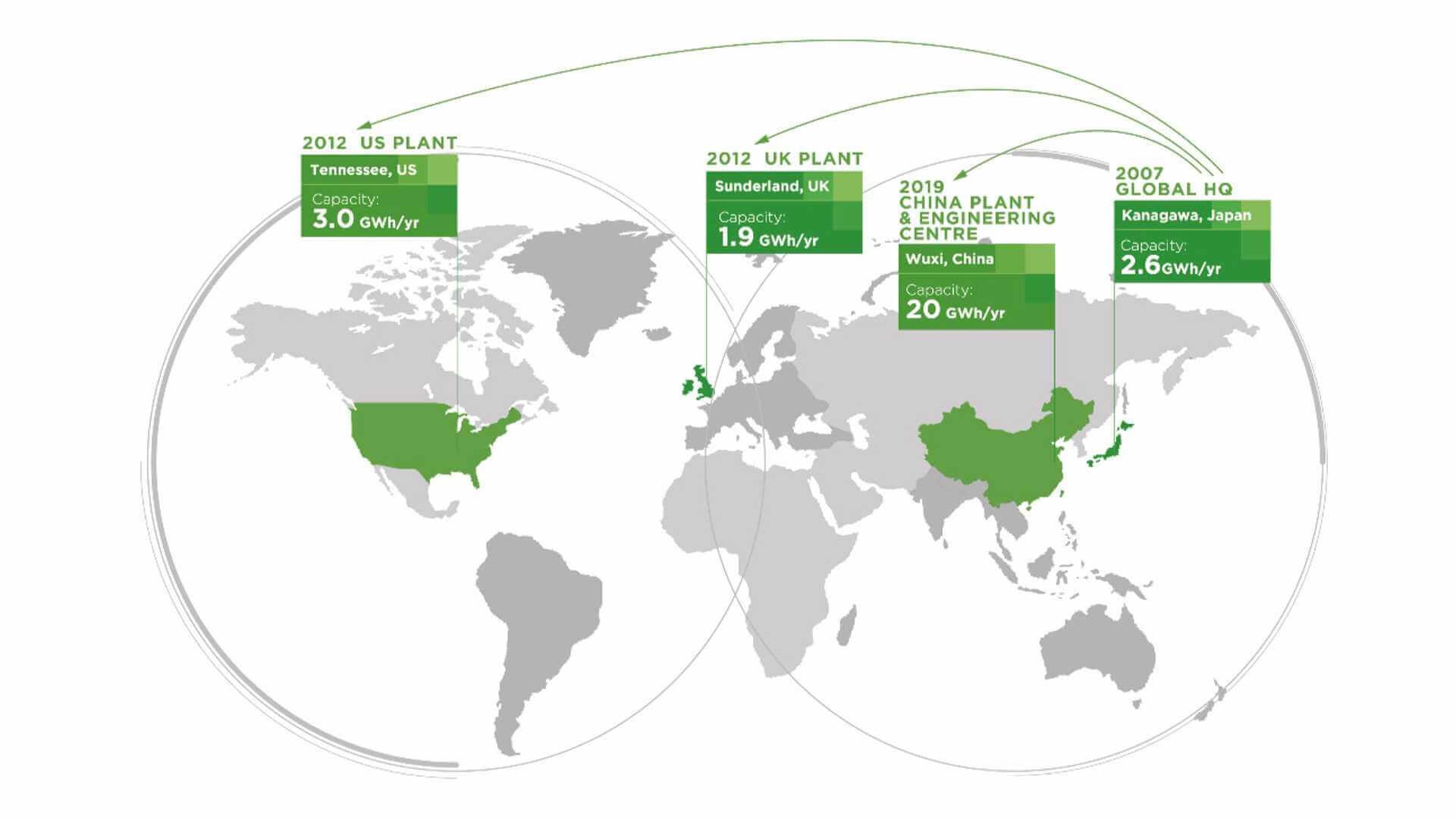 Аккумуляторные заводы Envision AESC в мире