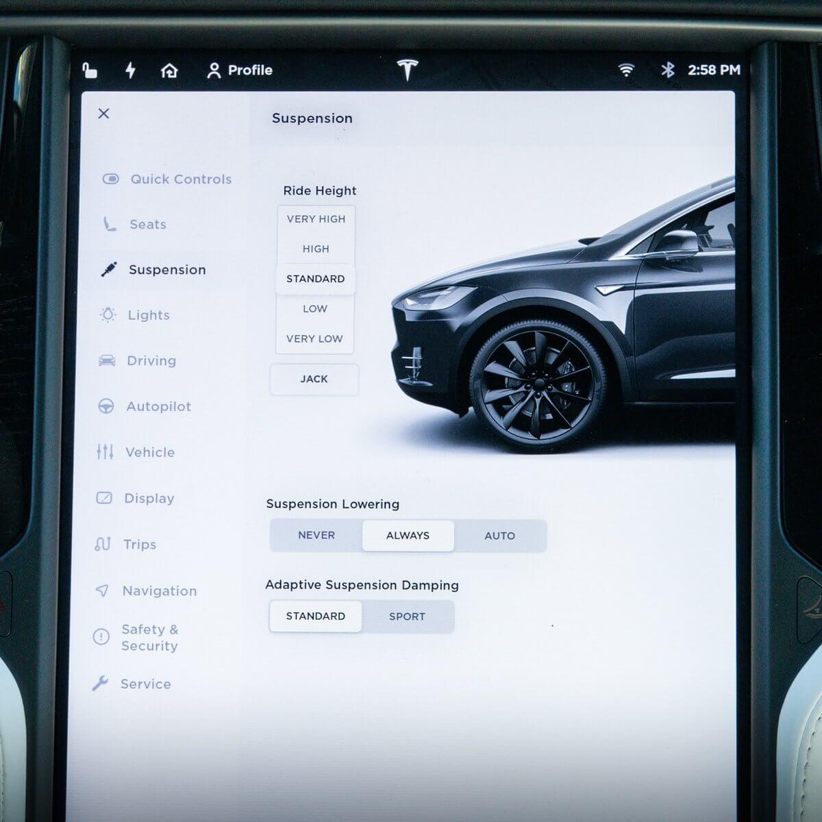 Пользовательский интерфейс адаптивной подвески Model S и X