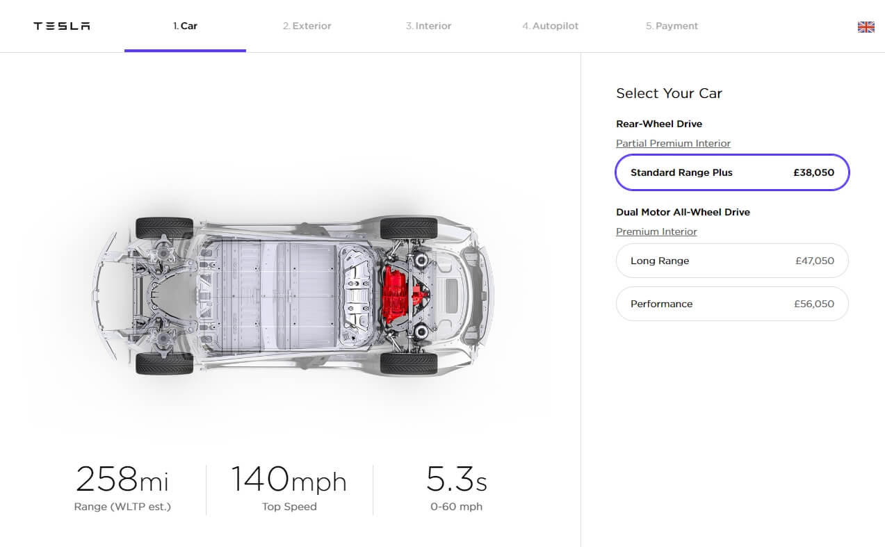 Онлайн-конфигуратор Tesla Model 3в Великобритании