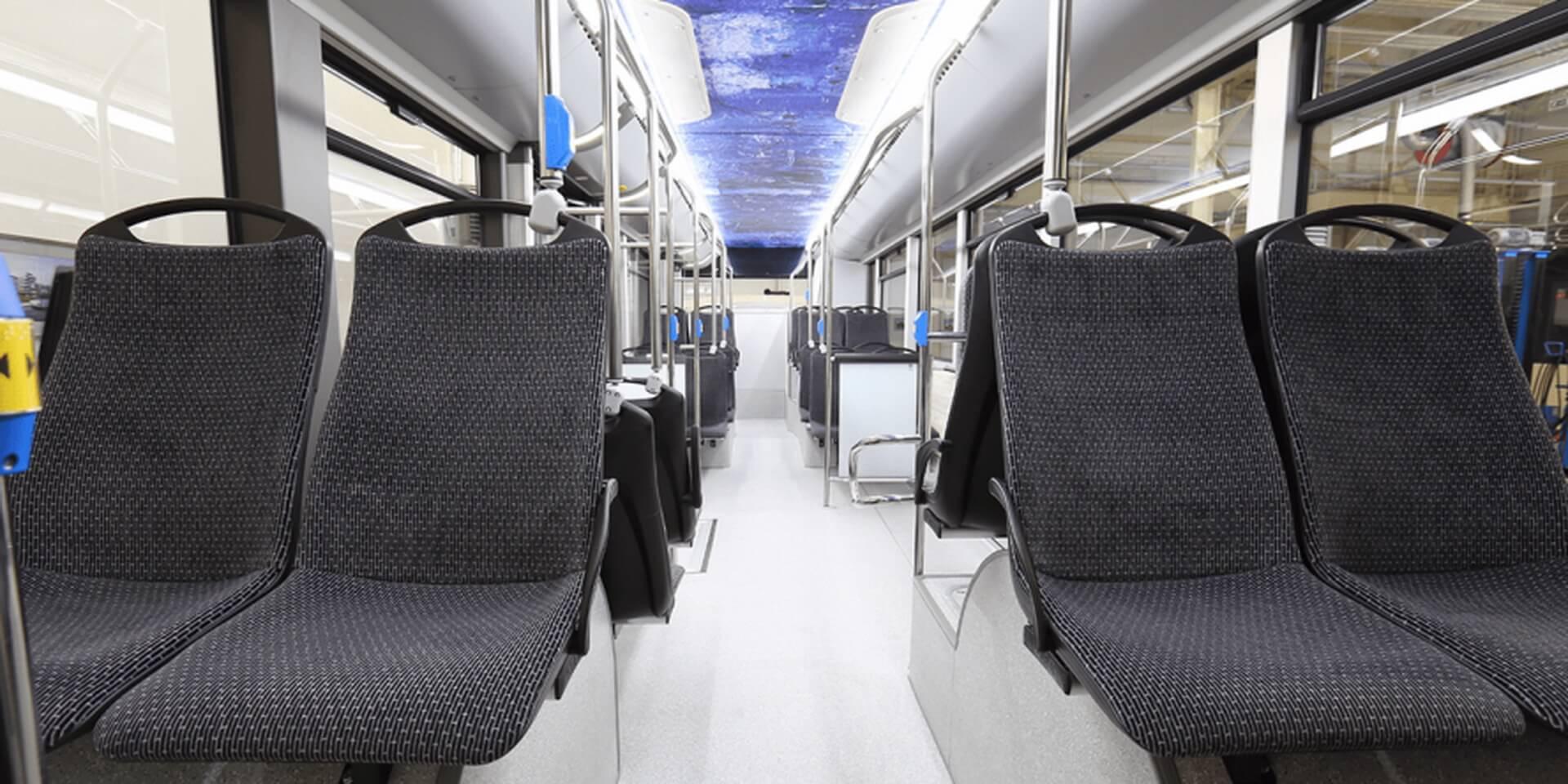 Салон электрического автобуса Solaris Urbino 12