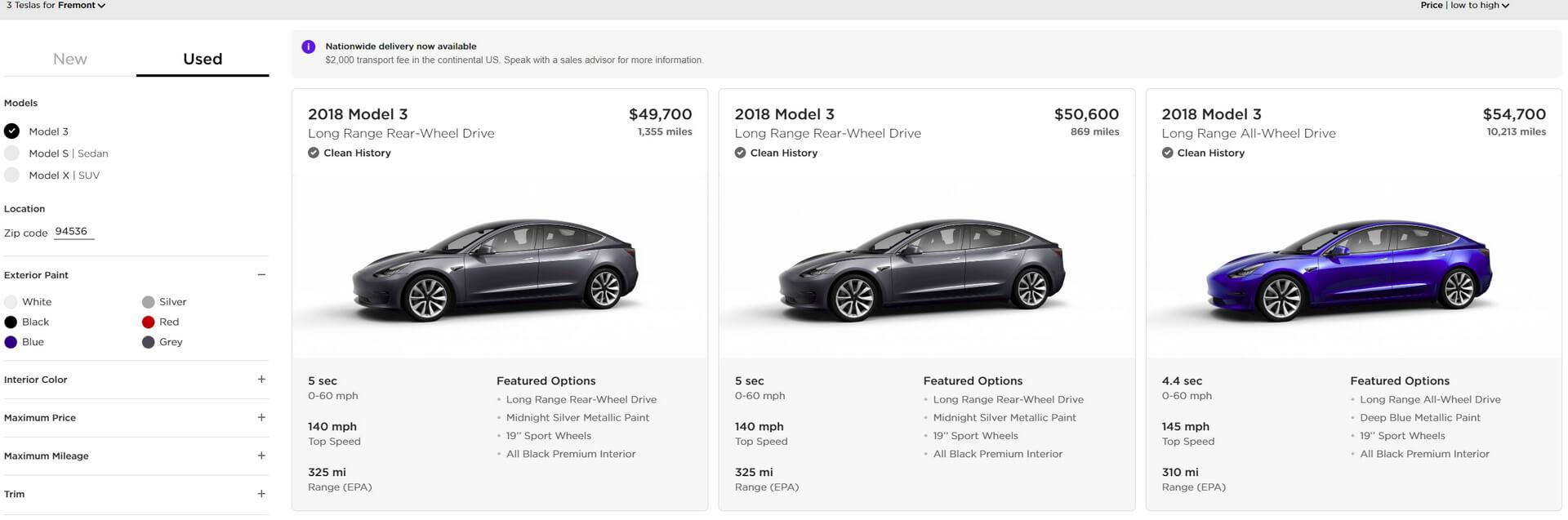 Продажа подержанных электромобилей Model 3 через веб-сайт Tesla