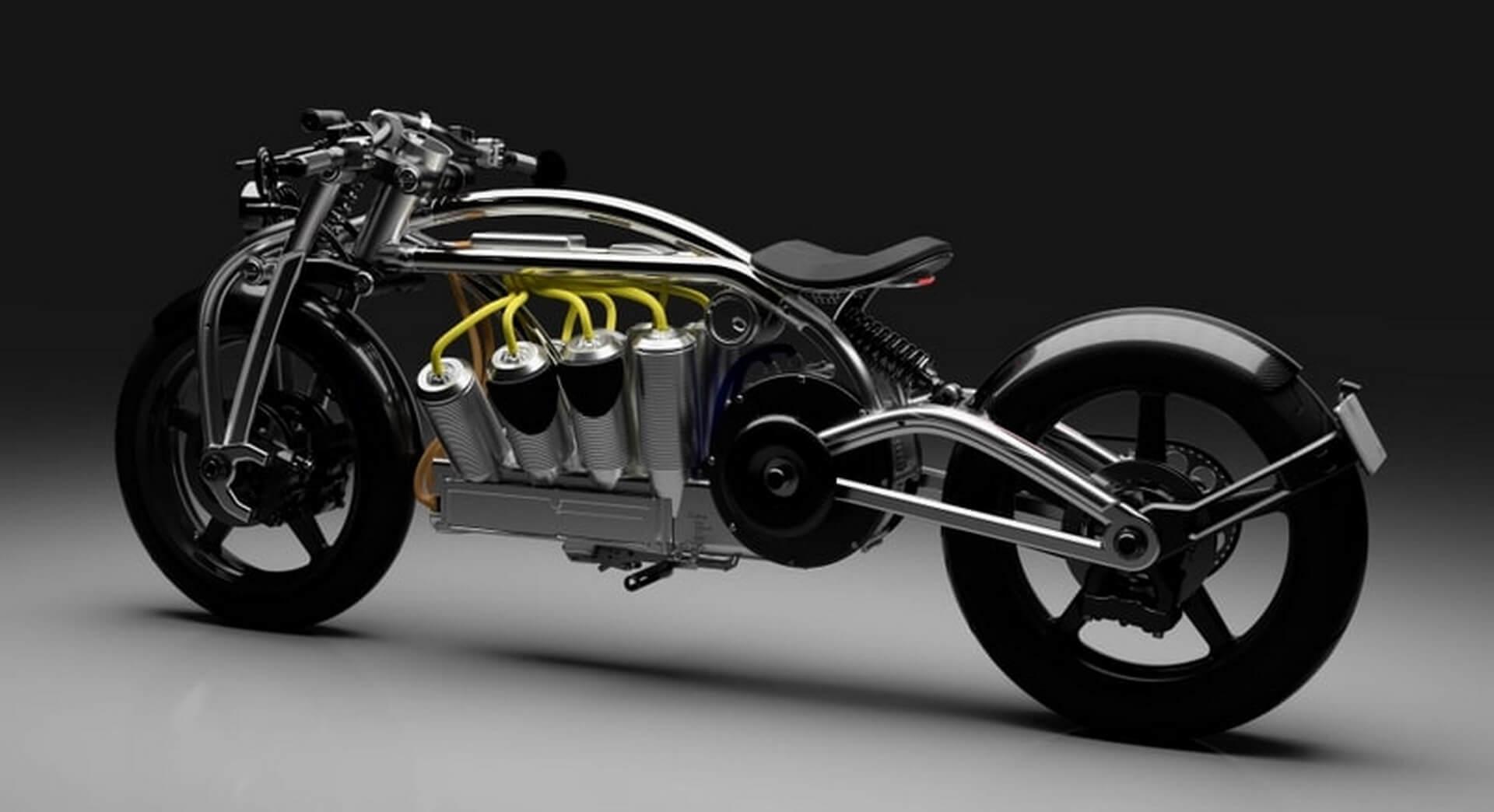 Curtiss Motorcycles представила электрический мотоцикл с аккумуляторами ввиде V8