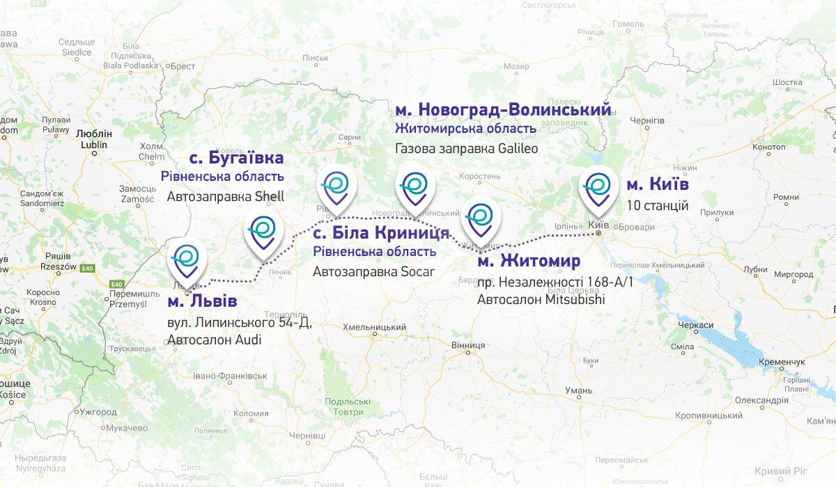 Карта скоростных зарядных станций STRUM между Киевом и Львовом