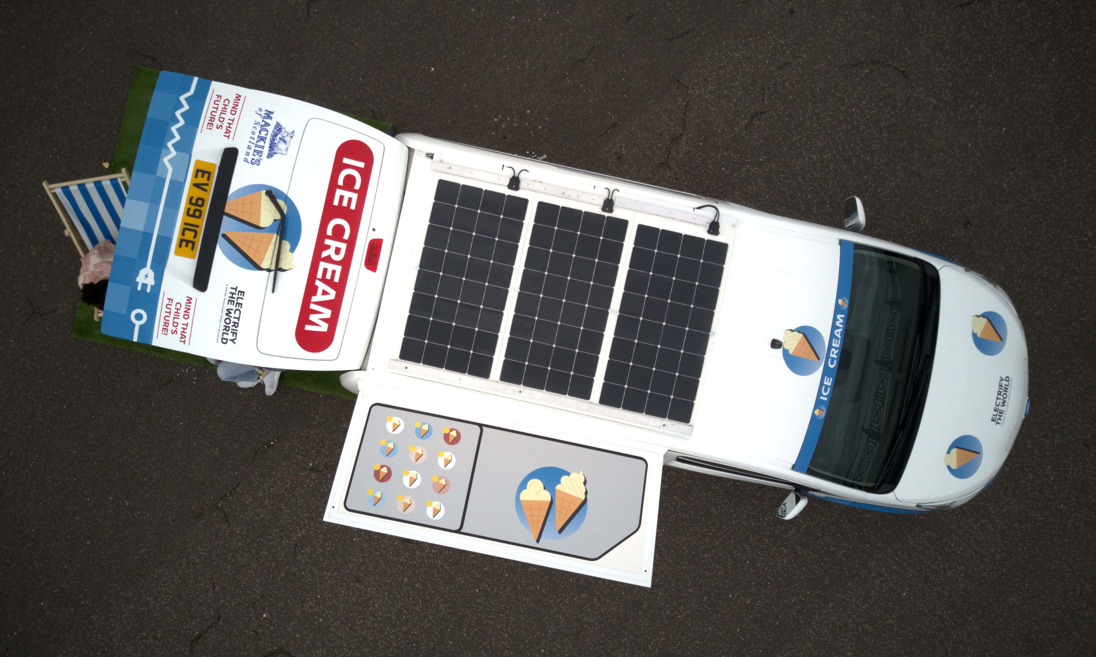 Солнечные батарей накрыше фургона e-NV200