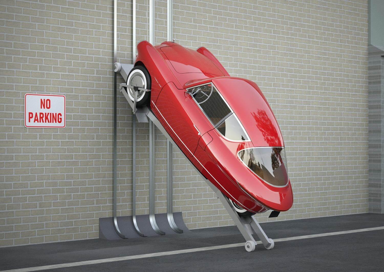 Nobe 100 можно припарковать вертикально на боковой стенке, используя парковочное устройство «gekko» для экономии места на парковке