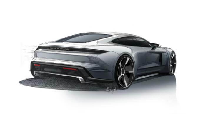 Скетч электромобиля Porsche Taycan