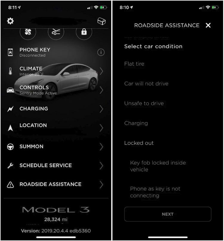 Службу помощи Tesla теперь можно вызвать через приложение в смартфоне