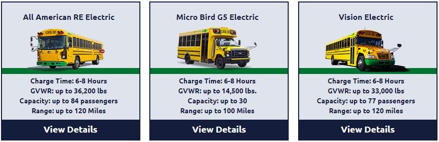Модели электрических автобусов Blue Bird