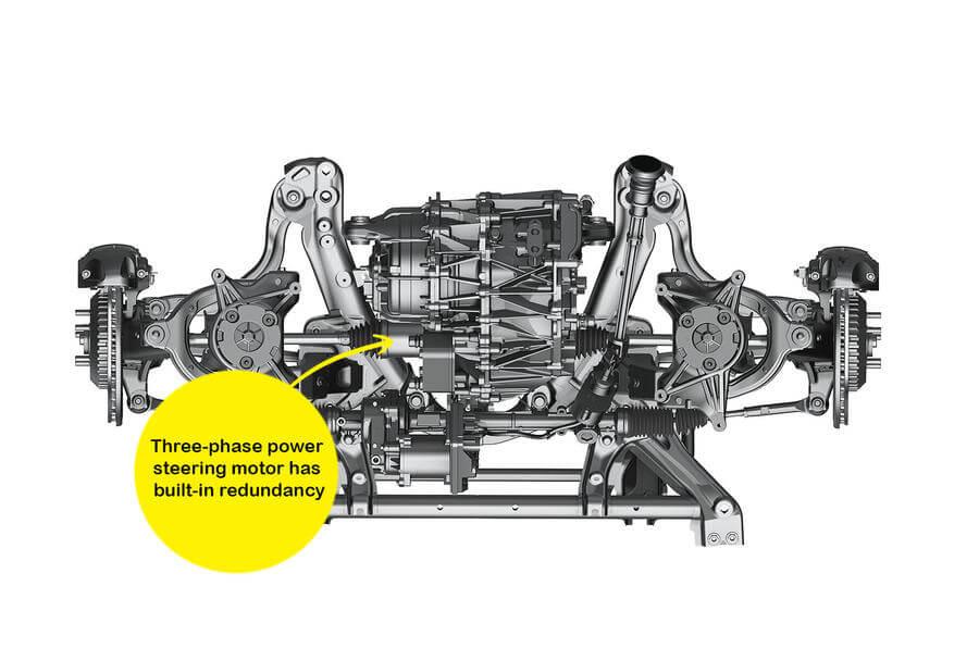 Трехфазный двигатель с гидроусилителем имеет встроенное резервирование