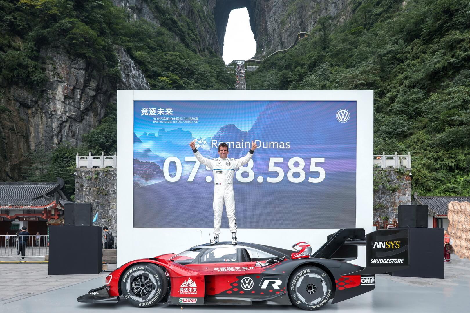 Ромен Дюма на Volkswagen ID.R установил первый официальный рекорд на горе Тяньмэнь