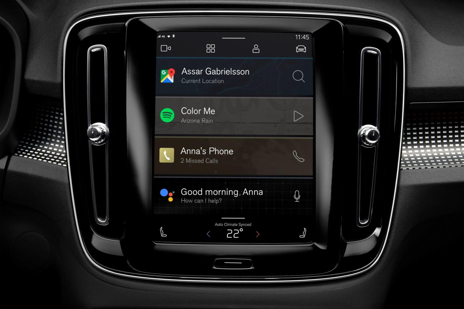 Полностью электрический Volvo XC40 получит развлекательную систему на базе Android