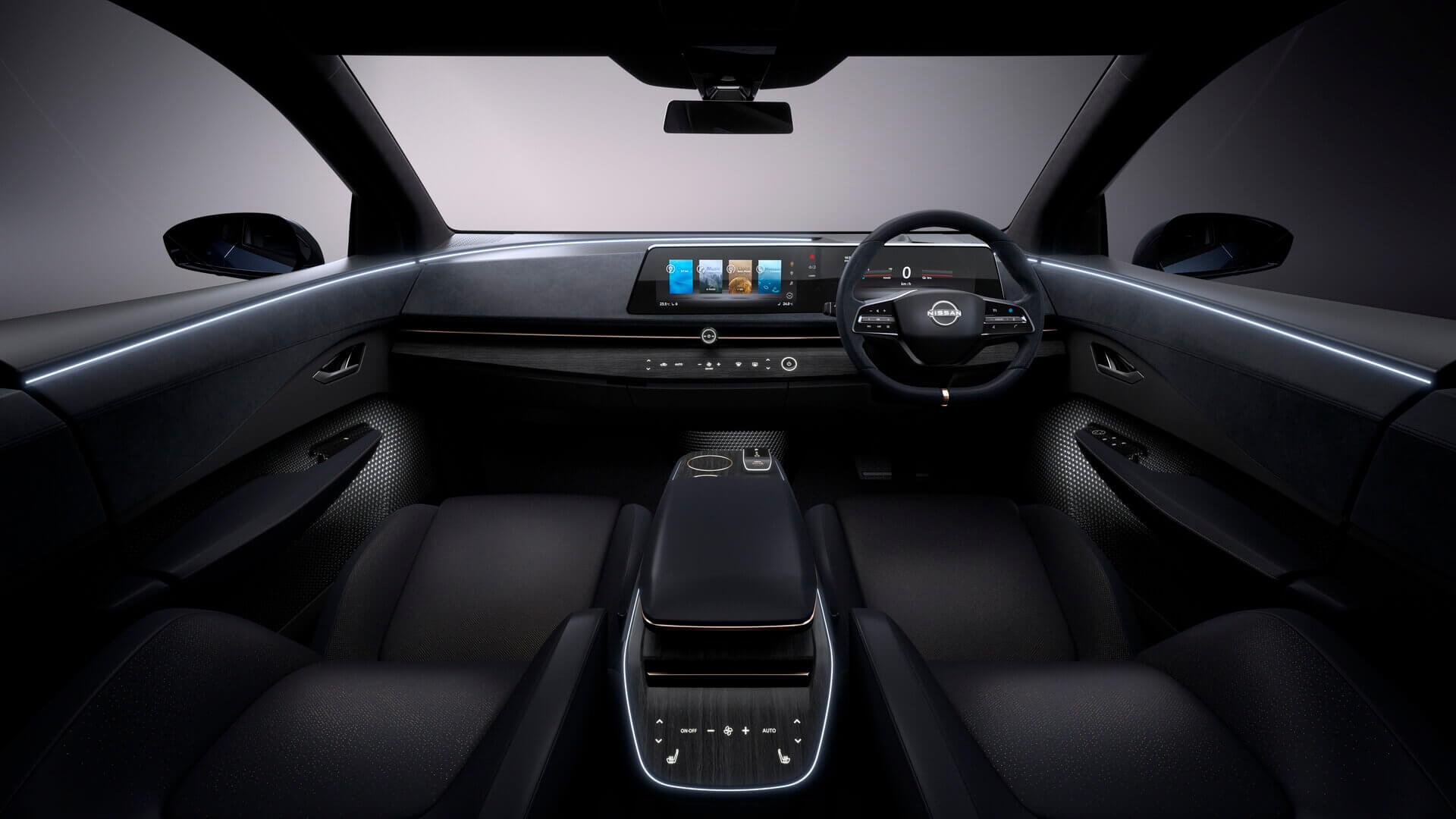 Интерьер электрического кроссовера Nissan Ariya
