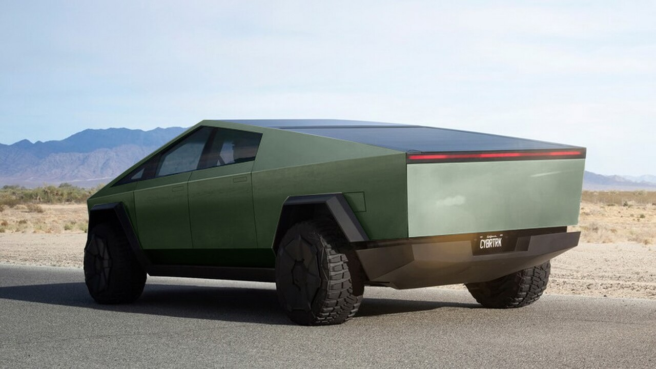 Tesla Cybertruck зеленого цвета