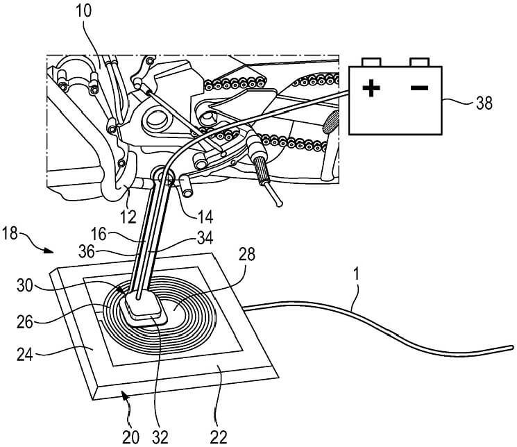 Схема беспроводной зарядки для электрических мотоциклов BMW