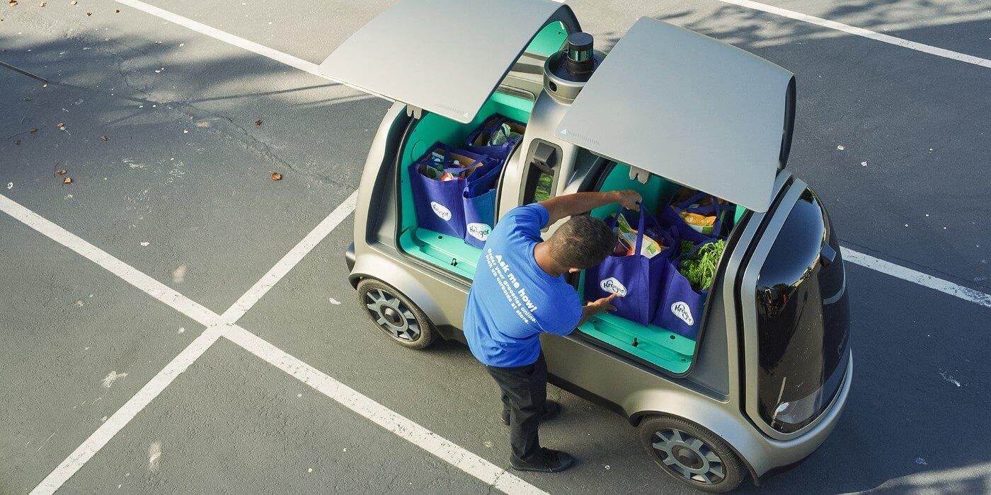 Автономный электромобиль Nuro R2, который будет поставлять продукты в Хьюстоне