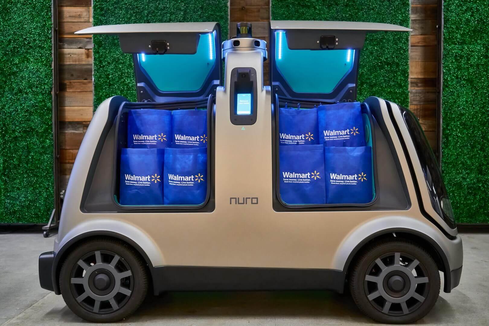 Автономный электромобиль Nuro R2, который будет поставлять продукты избранным клиентам Walmart в Хьюстоне