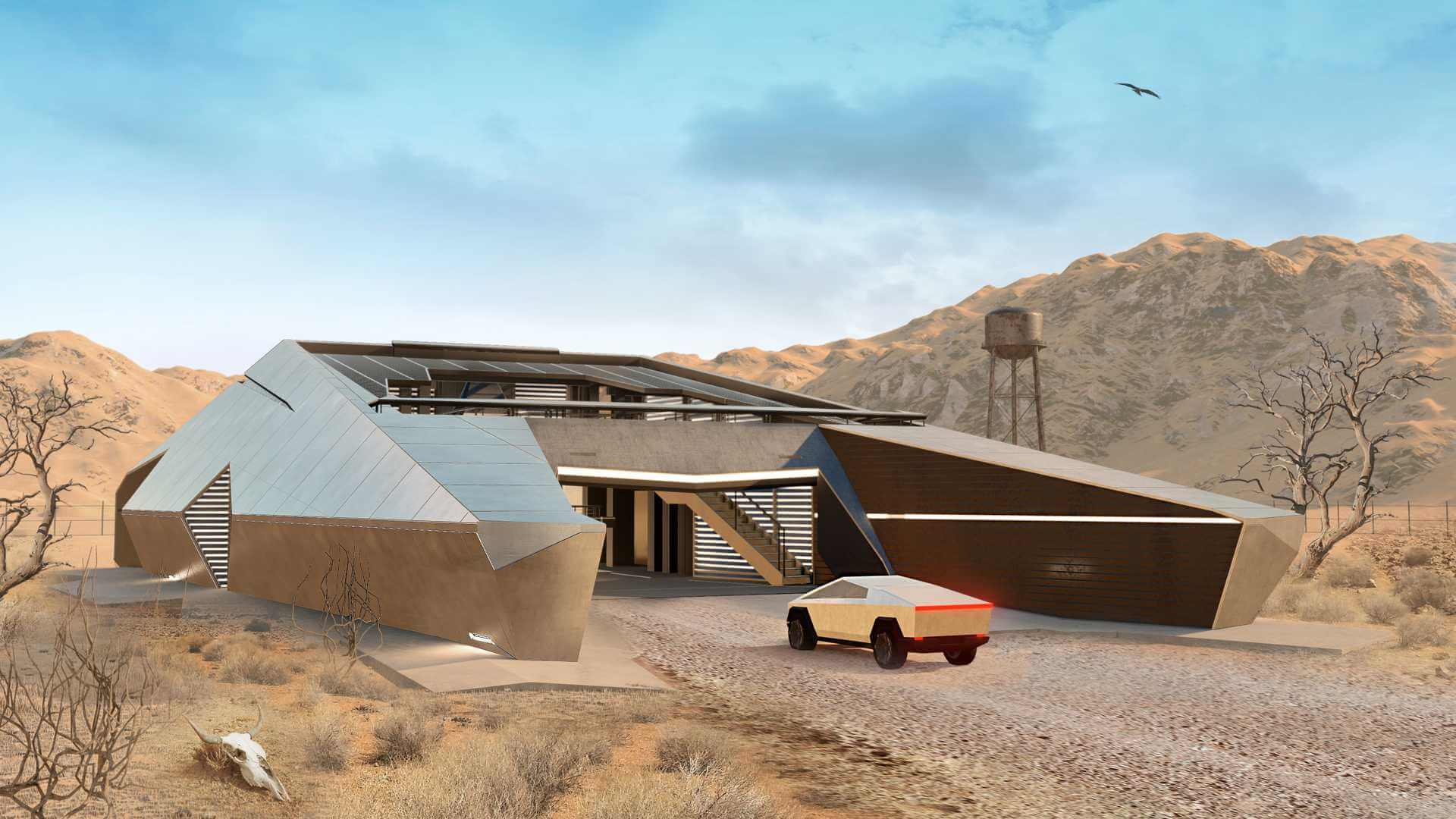 CyberHouse — жилой бункер в стиле киберпикапа Tesla