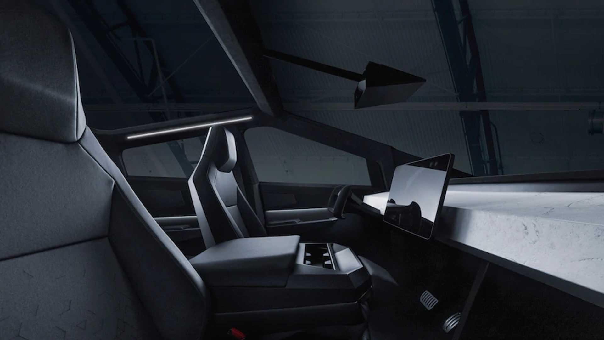 Интерьер Tesla Cybertruck с центральным мультимедийным дисплеем