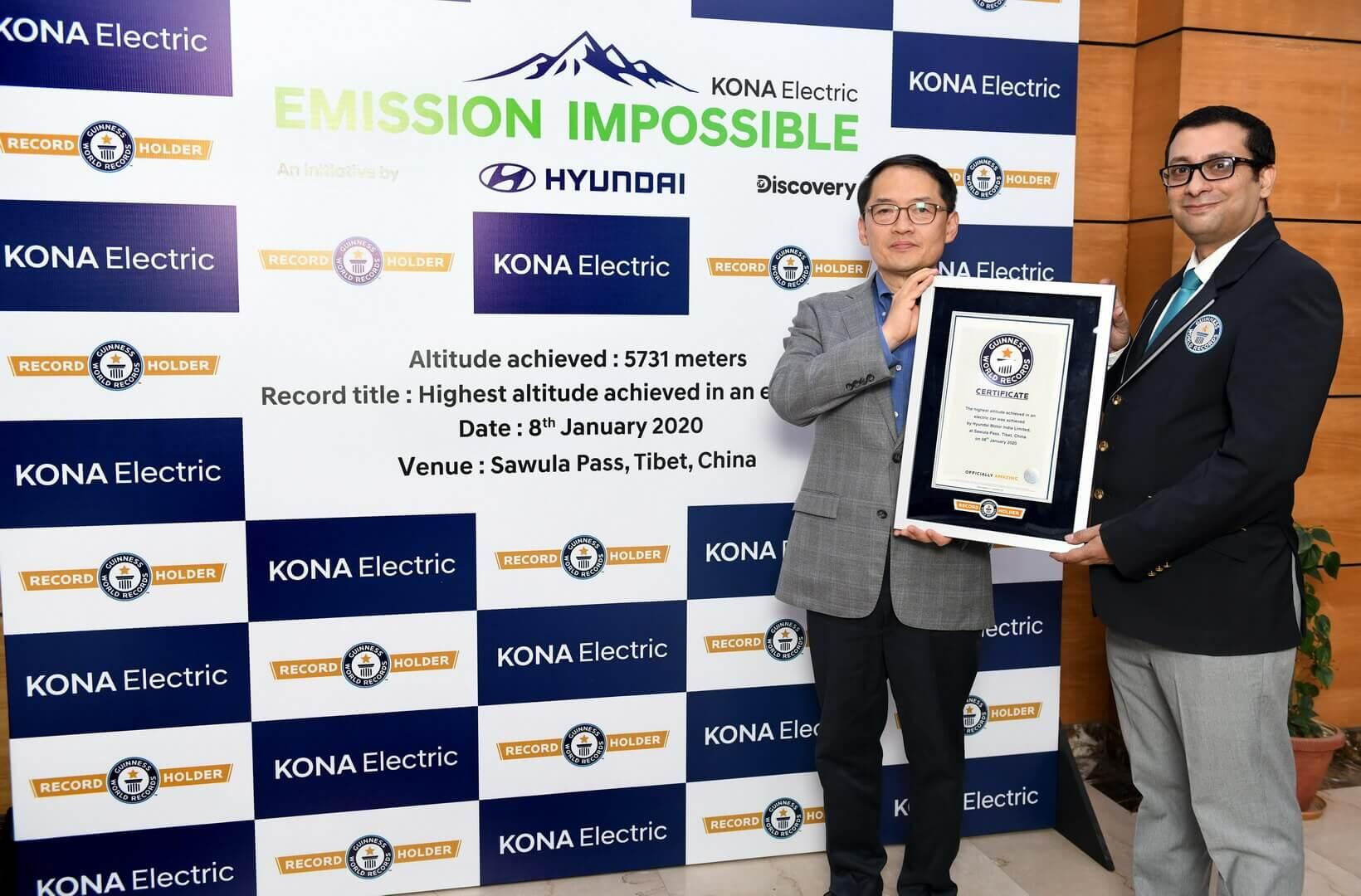 Hyundai Kona Electric устанавливает новый мировой рекорд Гиннеса
