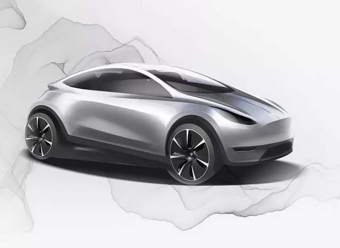 Рендер компактного электромобиля Tesla китайской разработки
