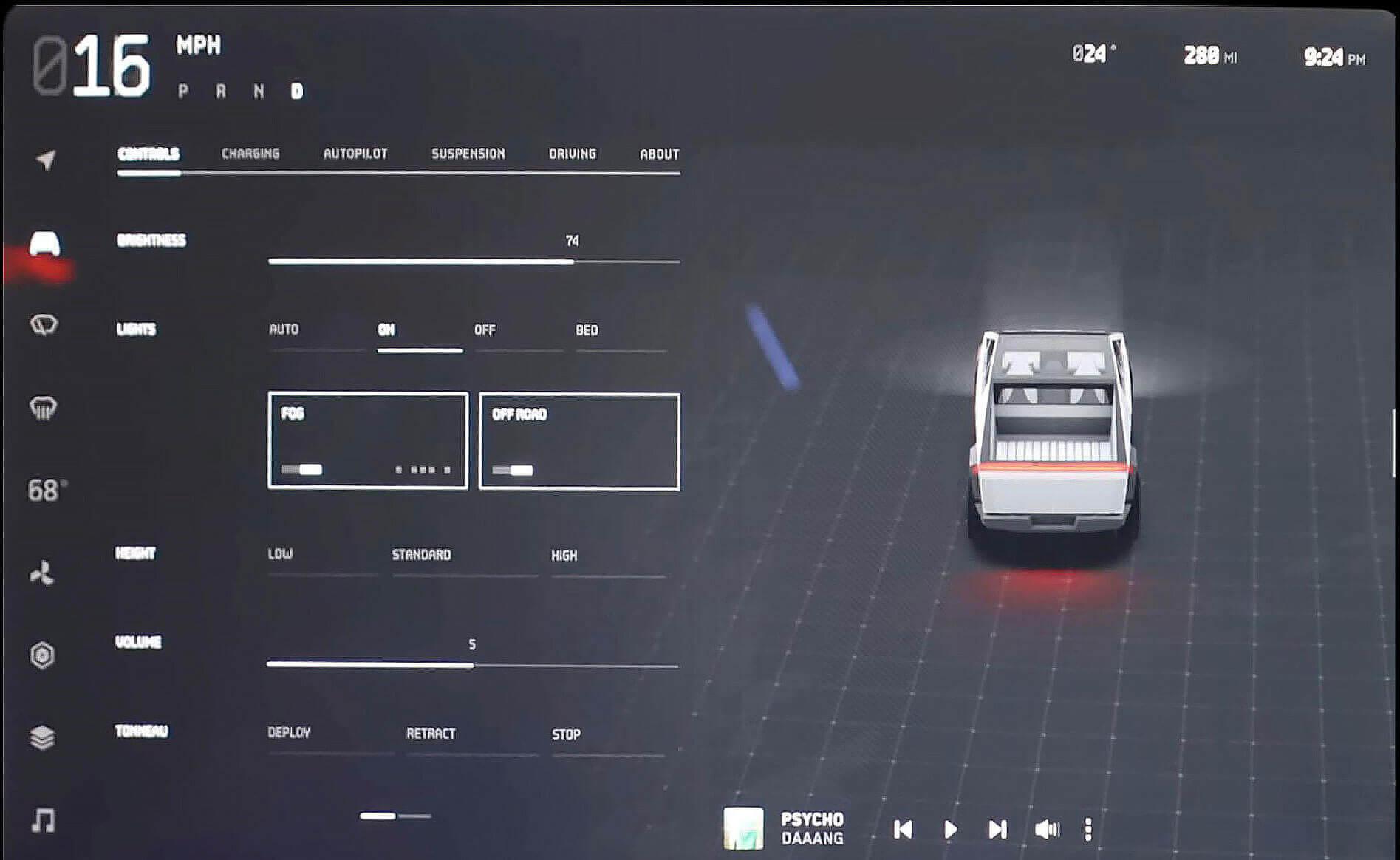 Интерфейс Tesla Cybertruck предлагает режим «OFF ROAD»