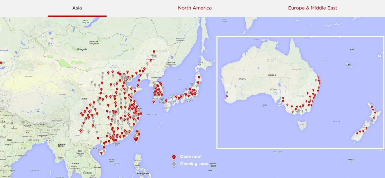 Сеть Tesla Supercharger в Азии