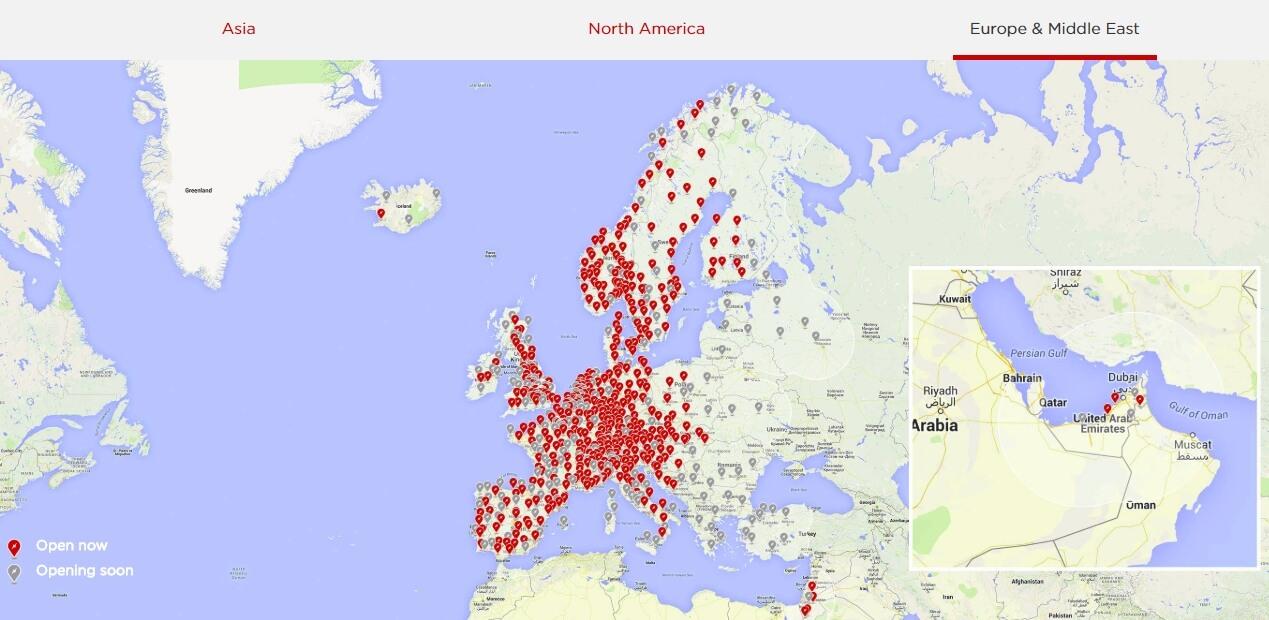 Сеть Tesla Supercharger в Европе