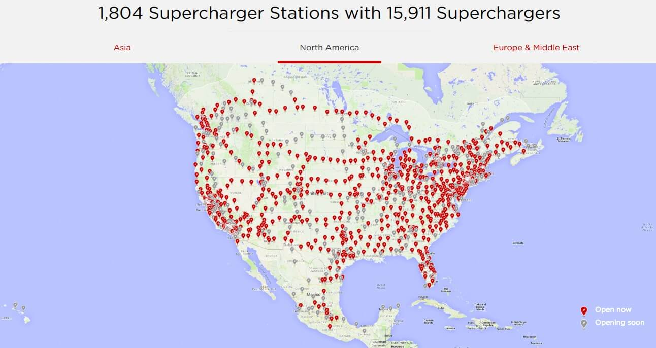 Сеть Tesla Supercharger в Северной Америке