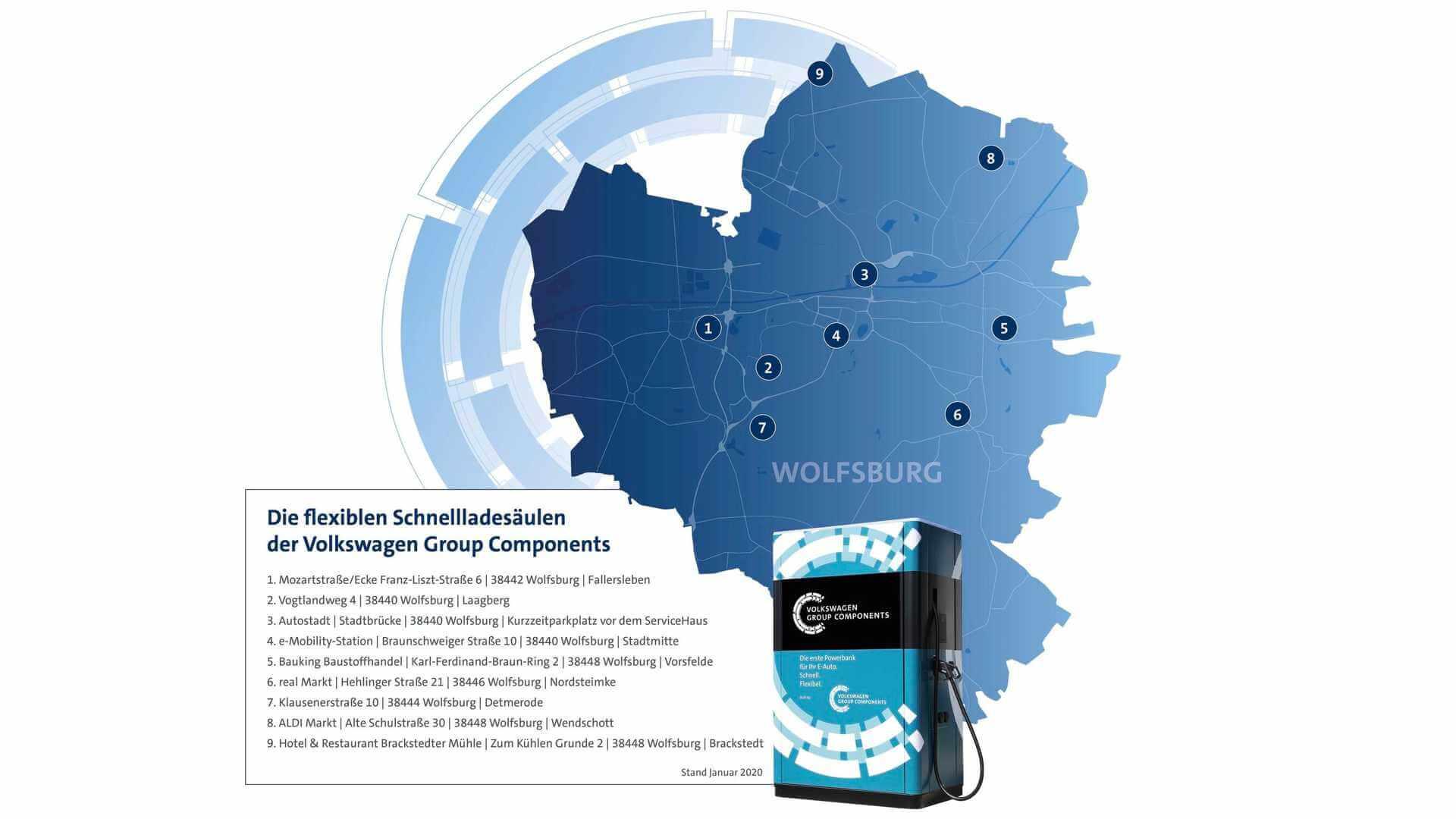 Карта установленных мобильных зарядных станций в Вольфсбурге