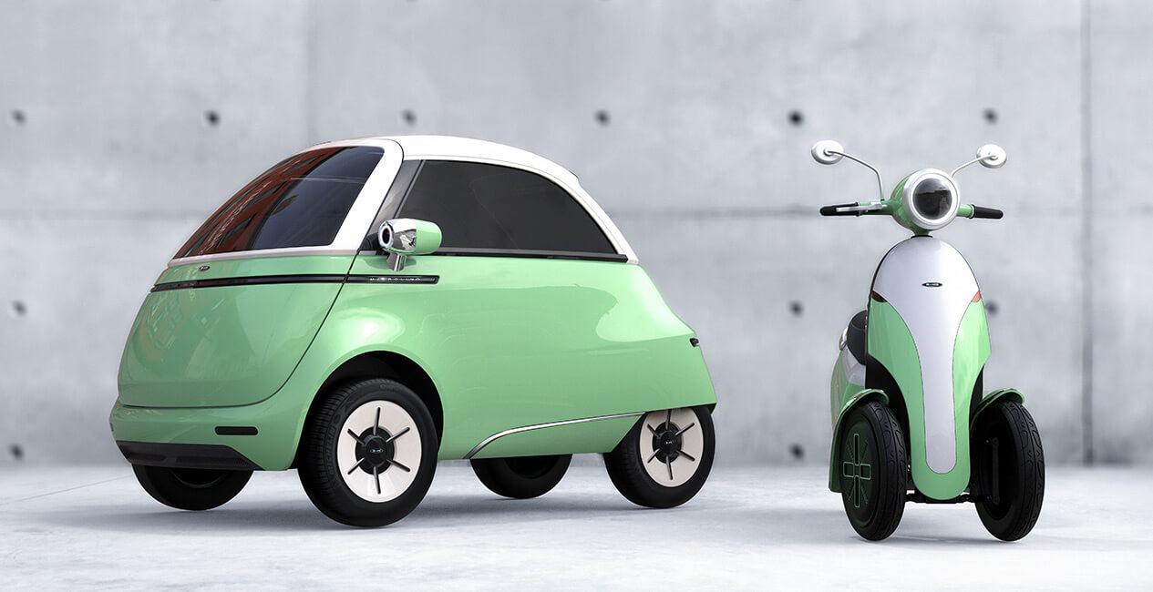 Компактный электромобиль Microlino 2.0 и трехколесный электрический скутер Microletta